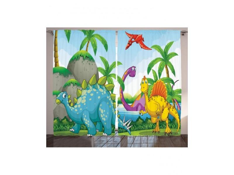 Детски пердета 3D, комплект Динозаврите