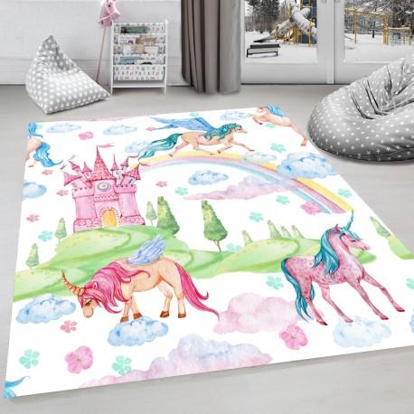 Детски килим с ефект на рисунка 160 х 230 см. Мечо спи