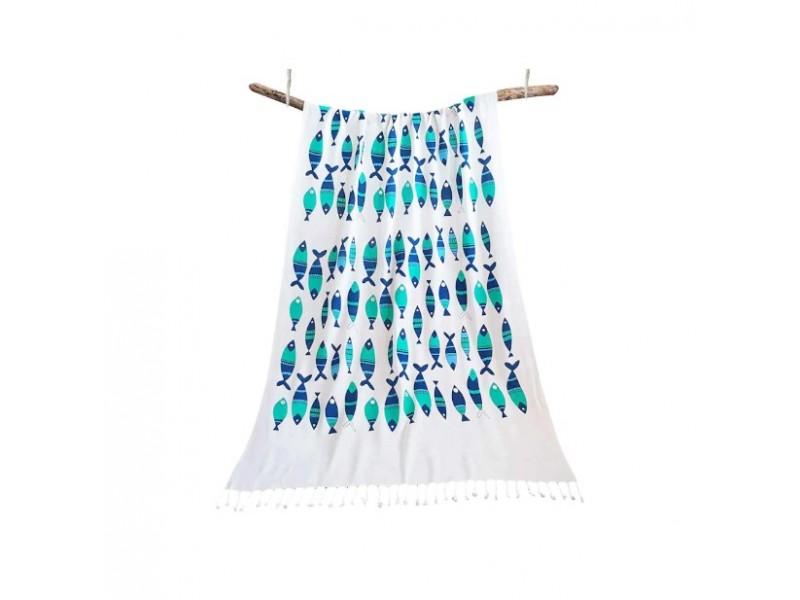 Плажна кърпа (пещемал) Анталия синя