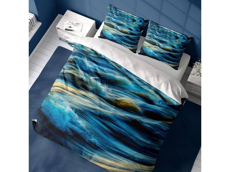 Спален комплект 3D от памучен сатен WAVY SEA