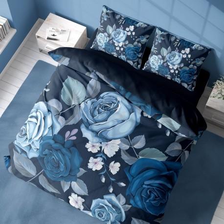 Спален комплект 3D от памучен сатен BLUE ROSES