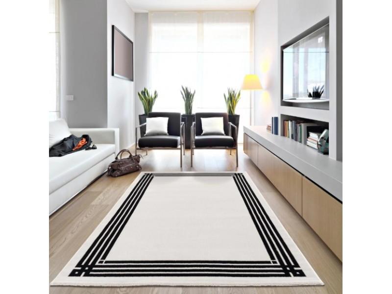 Модерен килим 150 х 230 см. STELLA бяло с черен детайл