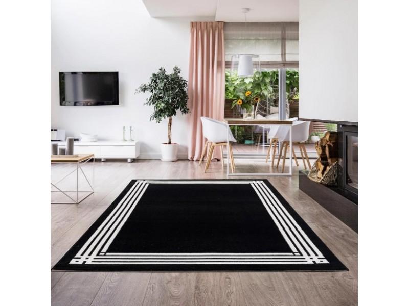 Модерен килим 150 х 230 см. STELLA черен с бял детайл