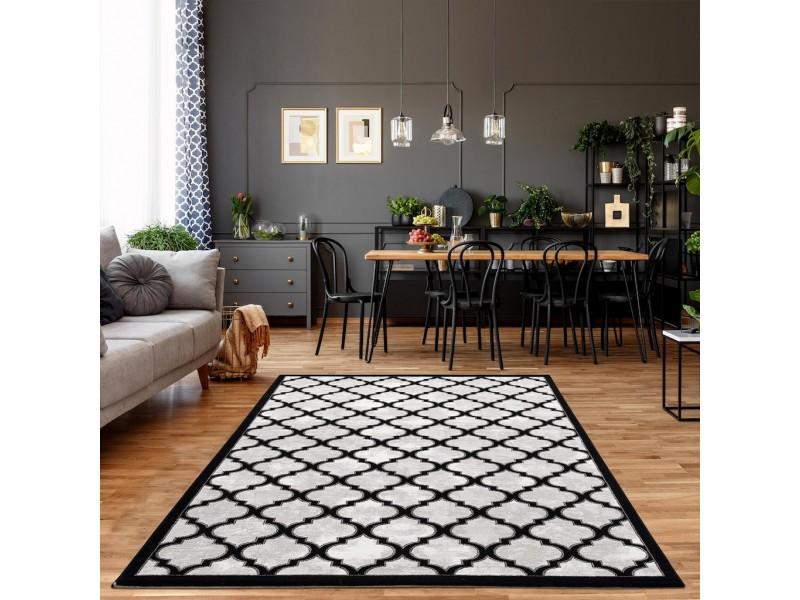 Модерен килим 150 х 230 см. STELLA lux черно сиво бяло