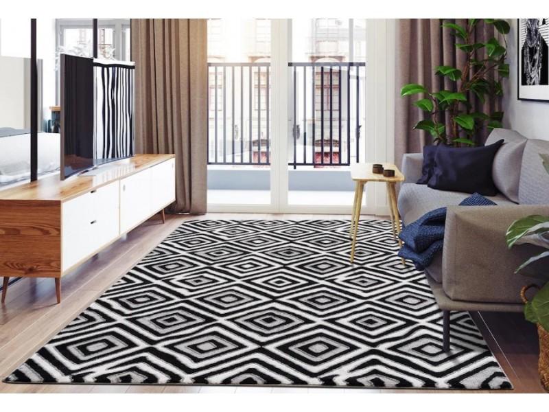 Модерен килим 150 х 230 см. STELLA черно сиво бяло