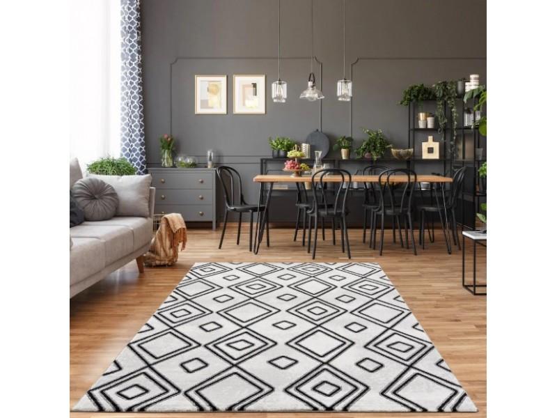 Модерен килим 150 х 230 см. STELLA lux черно св.сиво бяло