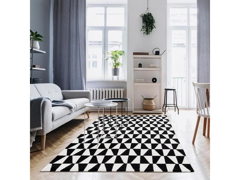 Модерен килим 150 х 230 см. STELLA lux черно бял
