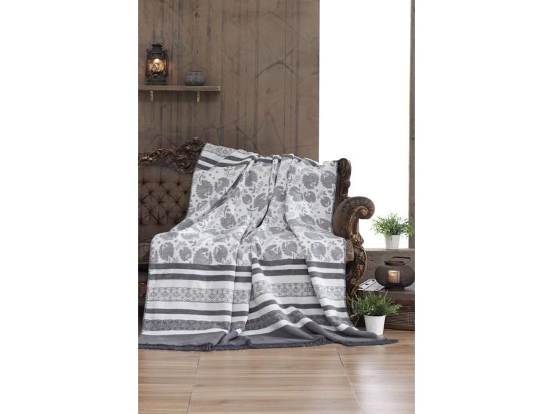 Памучно одеяло FLOWERY сиво
