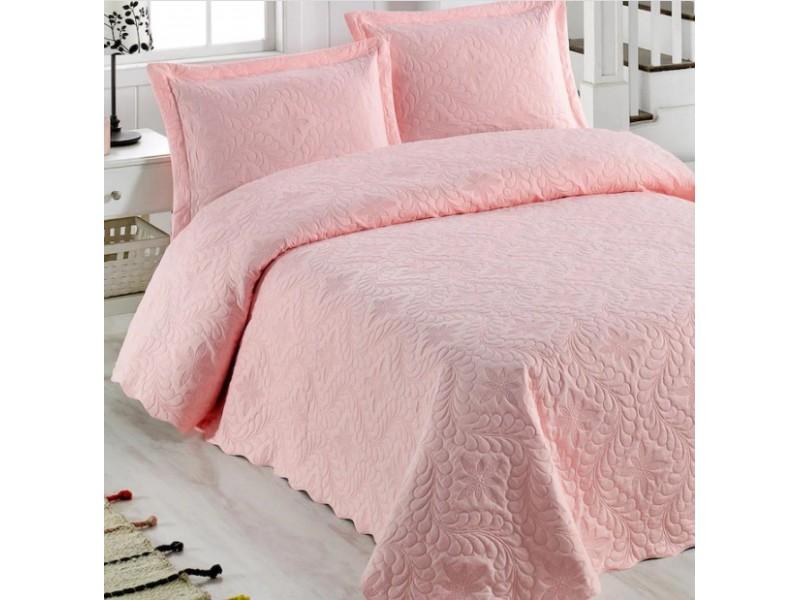 Покривка за легло с калъфки 250х260 см. РОЗОВА