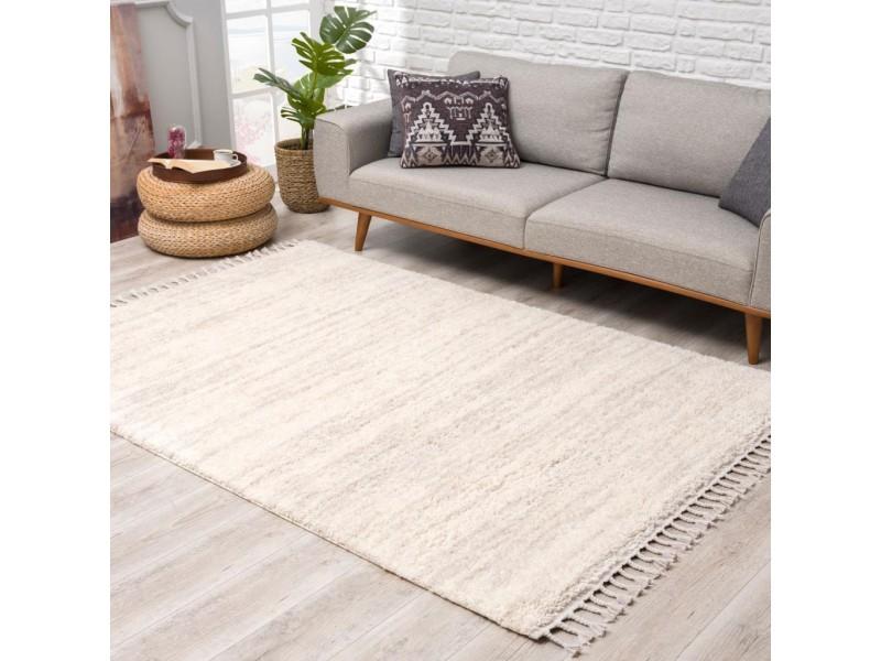 Модерен килим 160 х 230 см. Scandinavian shaggi кремаво -сив меланж