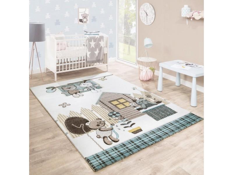 Детски релефен килим 160 х 230 см. BEARS бежово кремаво
