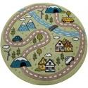 Детски кръгъл релефен килим ⌀ 200 см.Street зелен