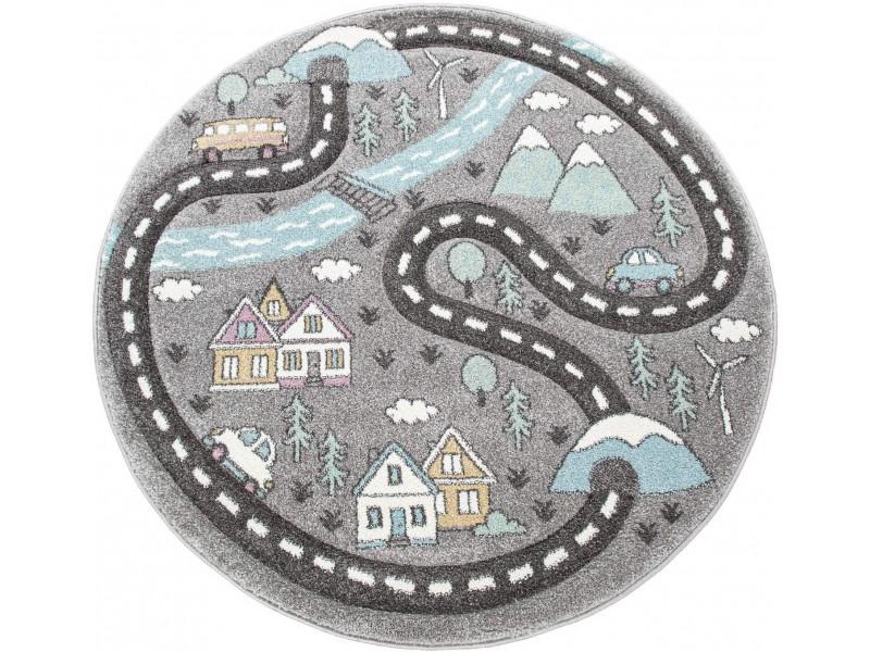Детски кръгъл релефен килим ⌀ 200 см.Street сив