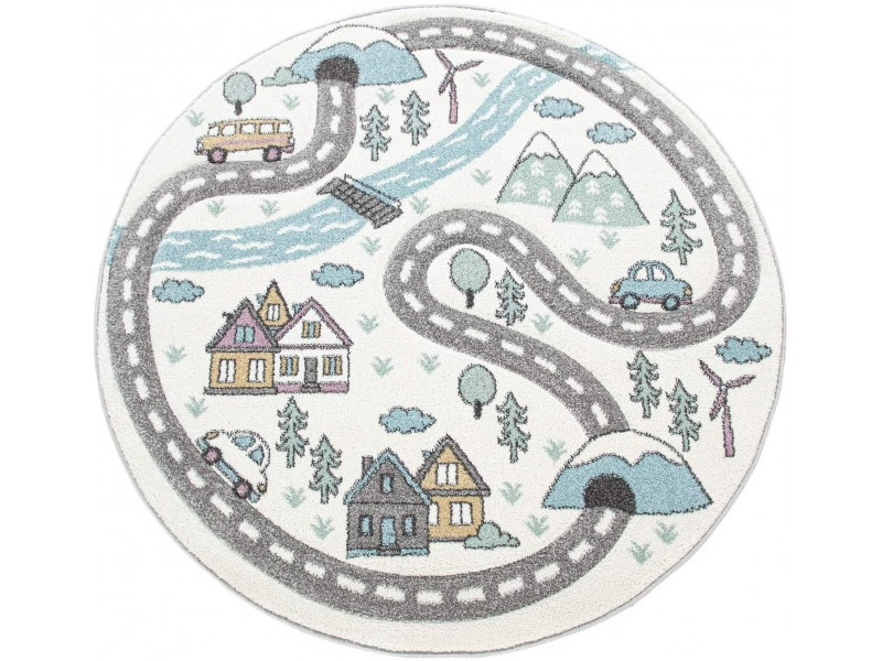 Детски кръгъл релефен килим ⌀ 200 см.Street кремав
