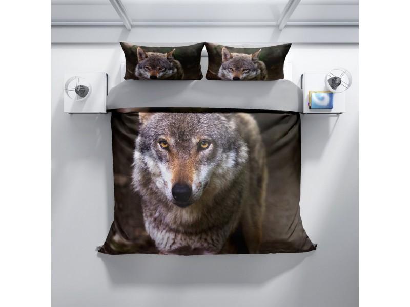Спален комплект 3D от памучен сатен WOLF 1