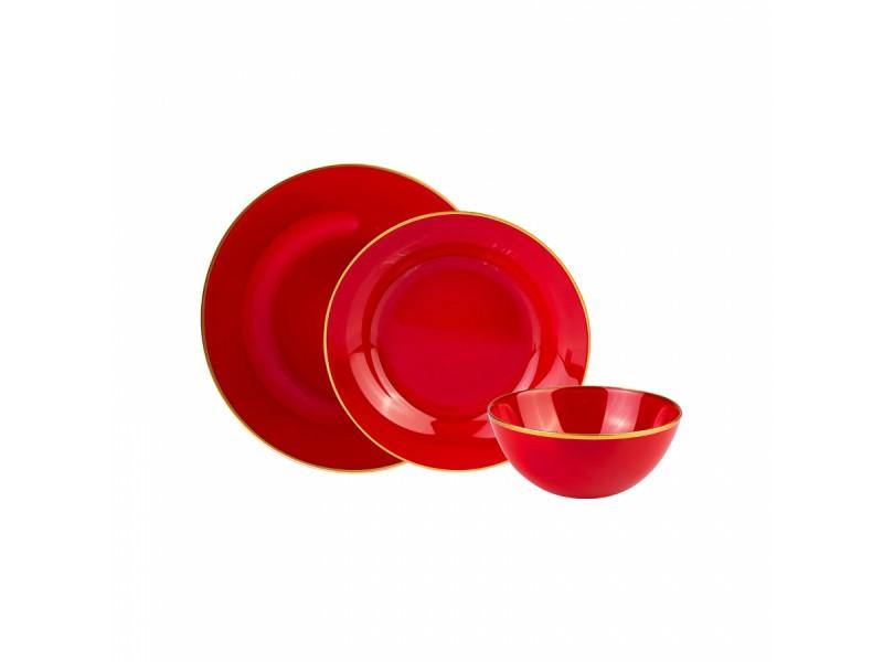 Сервиз за хранене порцелан 18 части RETRO червен