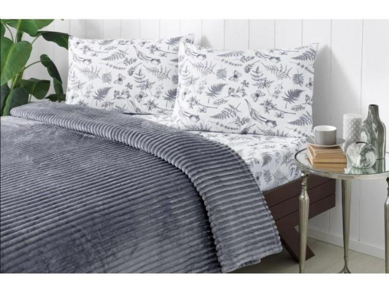 Одеяло с релеф + чаршаф и калъфки SMOOTH сиво