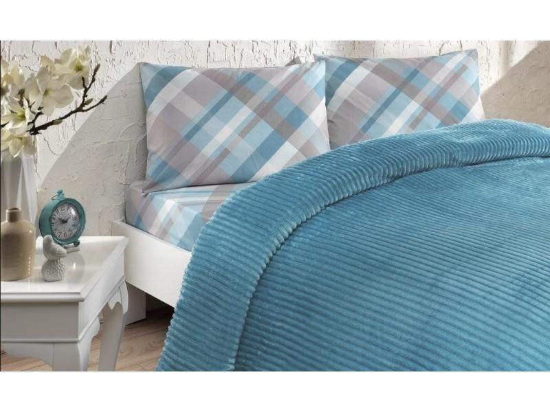 Одеяло с релеф + чаршаф и калъфки SMOOTH синьо