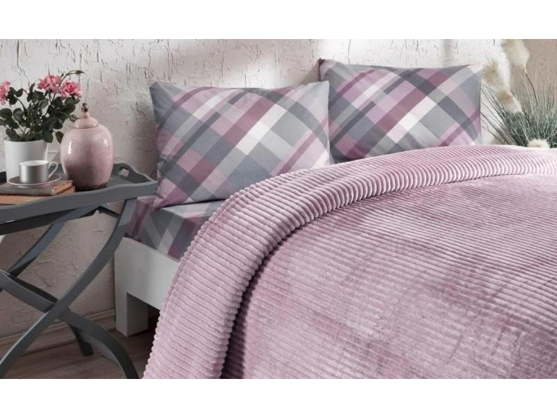 Одеяло с релеф + чаршаф и калъфки SMOOTH лила