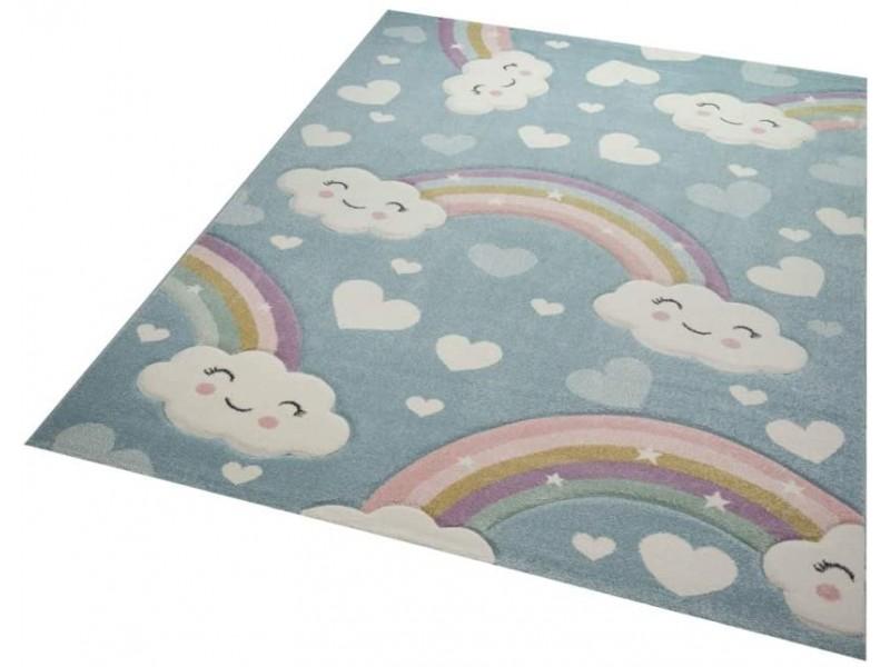 Килим за детска стая 160х230 см. RAINBOW син фон