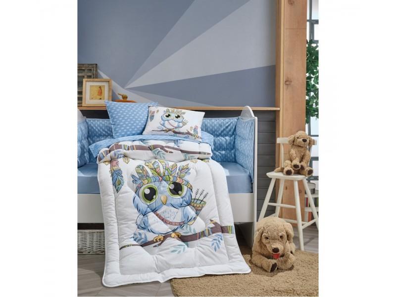 Бебешки комплект със завивка Owl blue