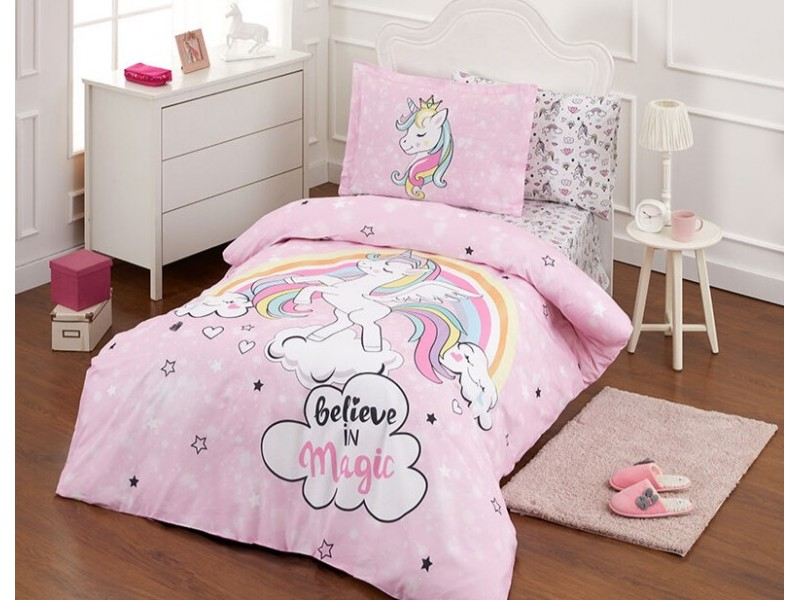 Детски фосфорициращ спален комплект Unicorn pink