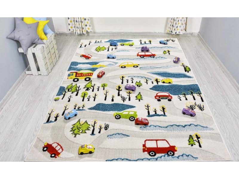 Детски релефен килим за игри 160х230 см. ROADS БЯЛ