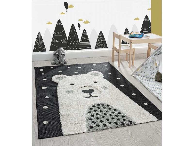 Скандинавски стил, релефен килим за детска стая МЕЧКА