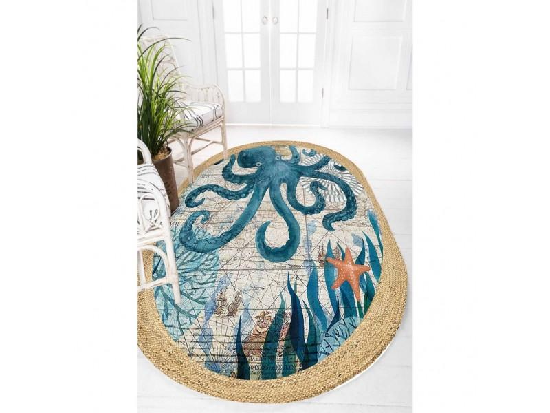 Юта килим с 3D принт , елипса 120х180см. ОКЕАН