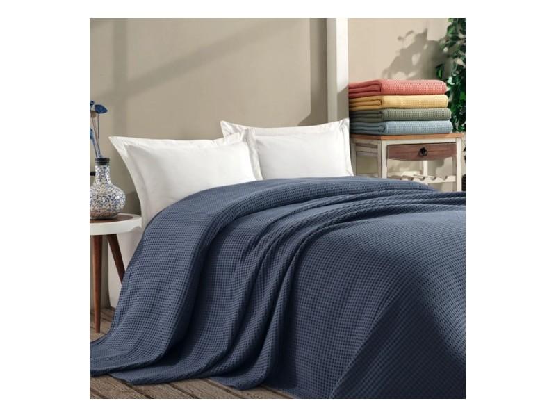 Покривало за легло ПИКЕ 160х260 см. от памук - СИНЬО