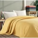 Покривало за легло ПИКЕ 160х260 см. от памук - ЖЪЛТО