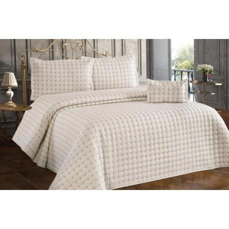 Покривка за легло памук сатен 260х260 см. КРЕМАВА