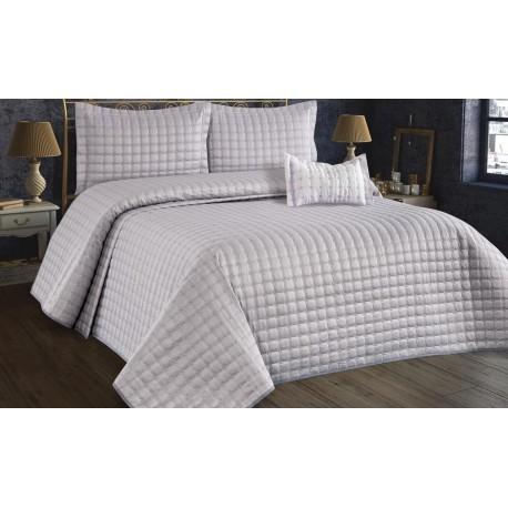 Покривка за легло памук сатен 260х260 см. СИВА