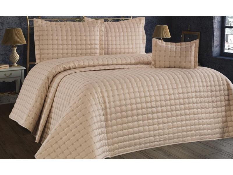 Покривка за легло памук сатен 260х260 см. БЕЖОВА