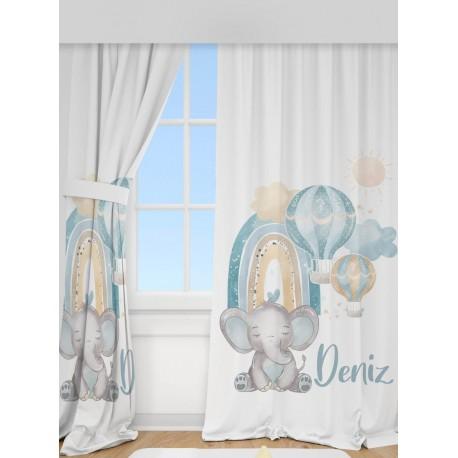 Комплект за детска стая килим и пердета СЛОНЧЕ С ДЪГА синьо