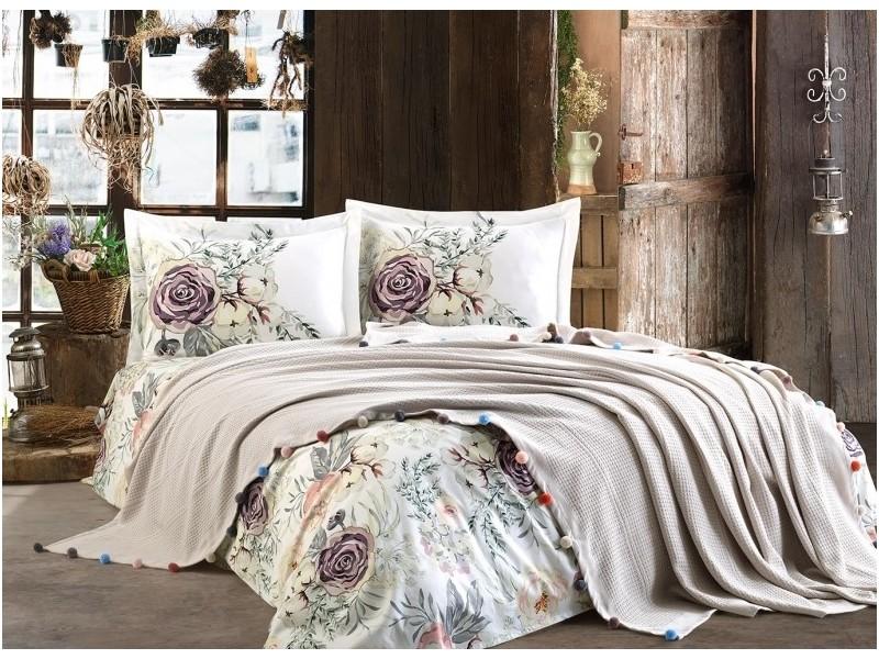 Покривка двойно пике + чаршаф и калъфки VIOLET сиво