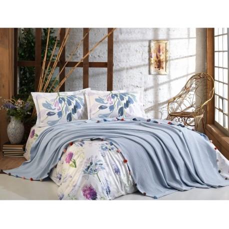 Покривка двойно пике + чаршаф и калъфки VIOLET синьо