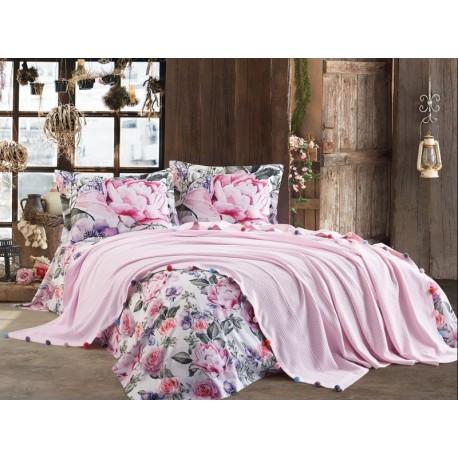 Покривка двойно пике + чаршаф и калъфки VIOLET розово