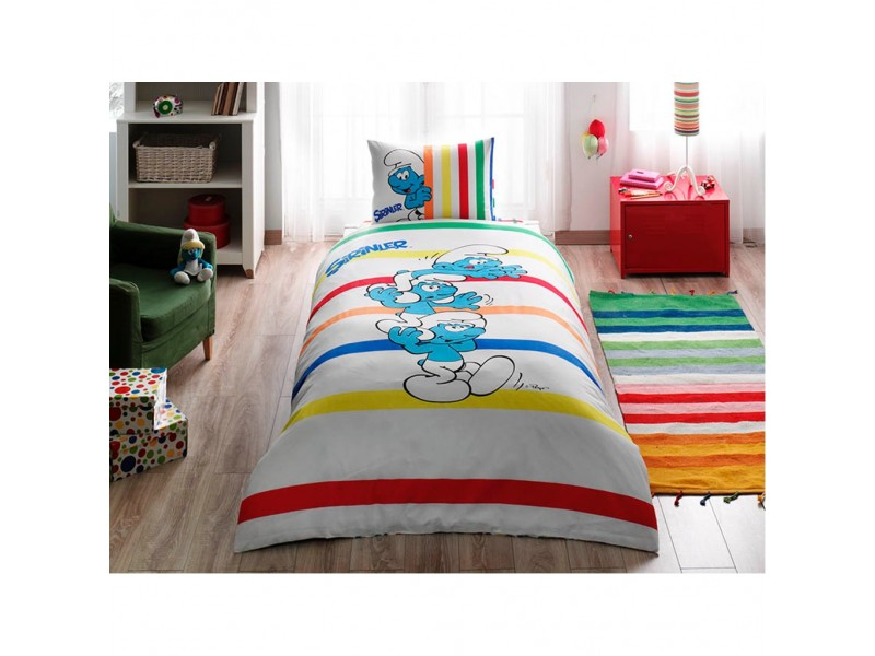 TAC детски спален комплект Playground Smurfs
