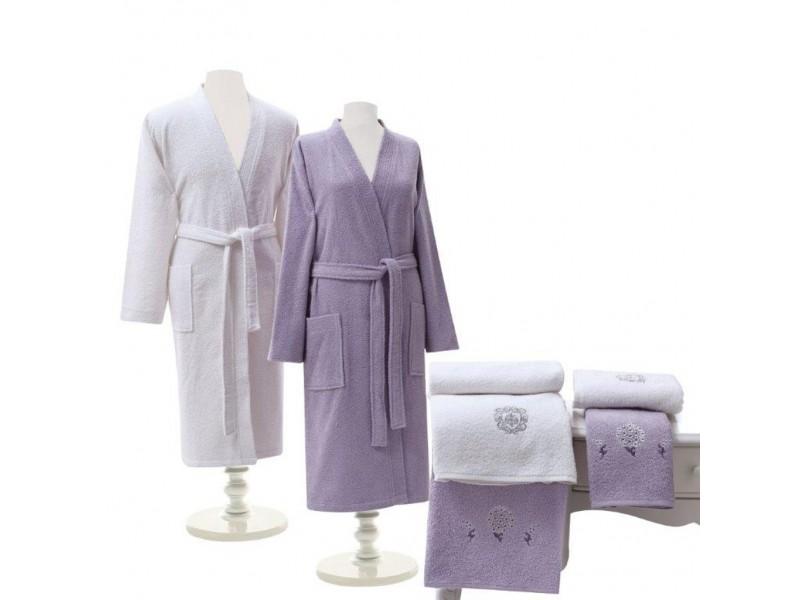 Халати за баня комплект TAC лила-екрю