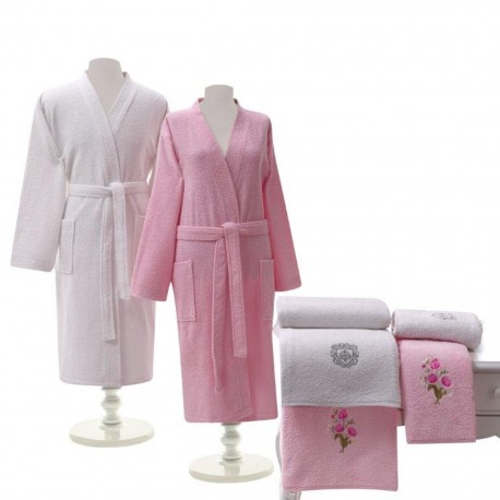 Халати за баня комплект TAC бяло -розово