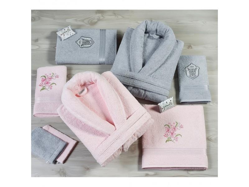 Халати за баня с бродерия комплект от 6 части розово-сиво