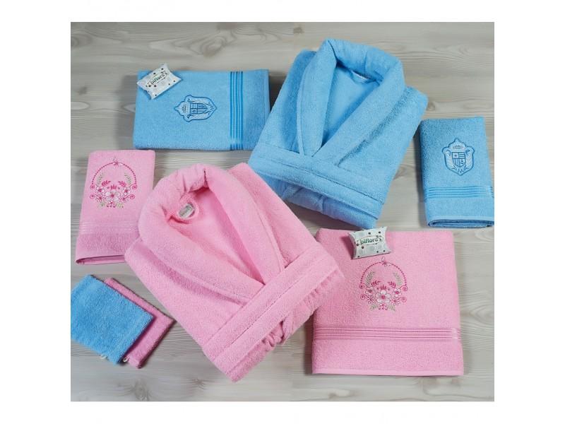 Халати за баня с бродерия комплект от 6 части Розово и синьо