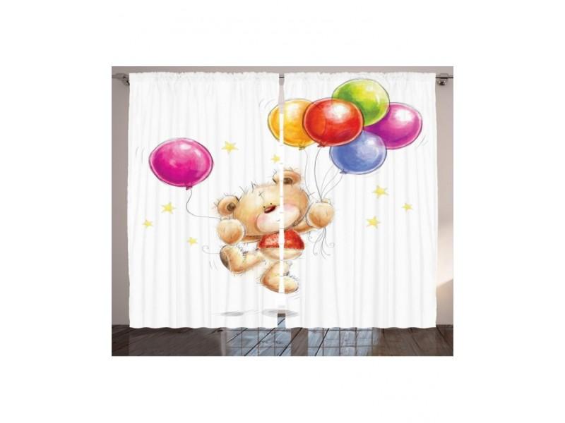 Детски пердета 3D, комплект Мече с балони