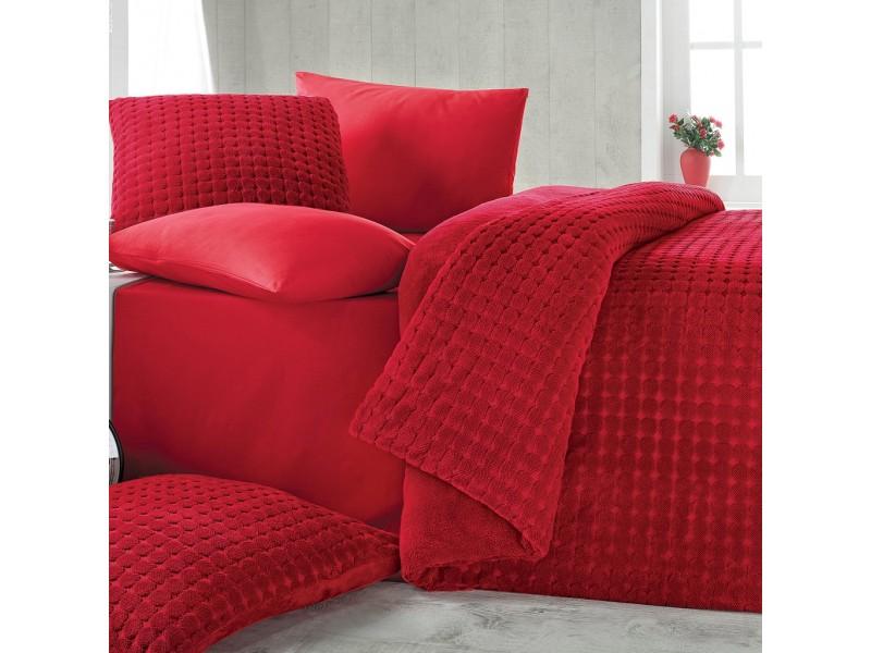 Софт покривало + чаршафи - Jakard Soft - червено