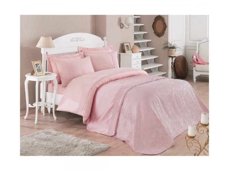 Делукс Veronika двоен спален комплект с покривка от жакард и дантела - розово