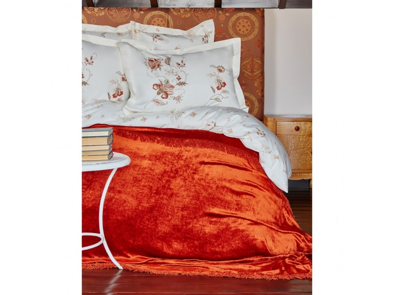 Двоен спален комплект + кувертюра LUCCA оранж