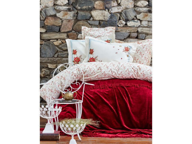 Двоен спален комплект + кувертюра FEONA бордо
