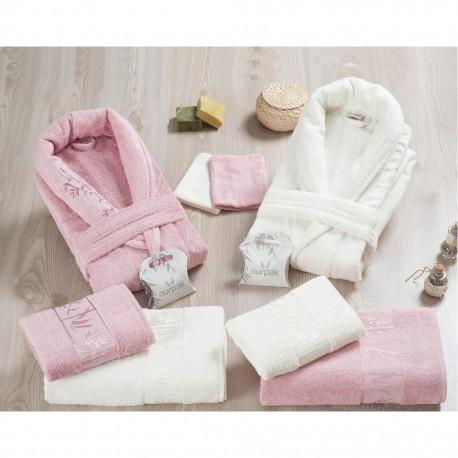 Халати за баня БАМБУК комплект 10 части - пепел от рози , бял