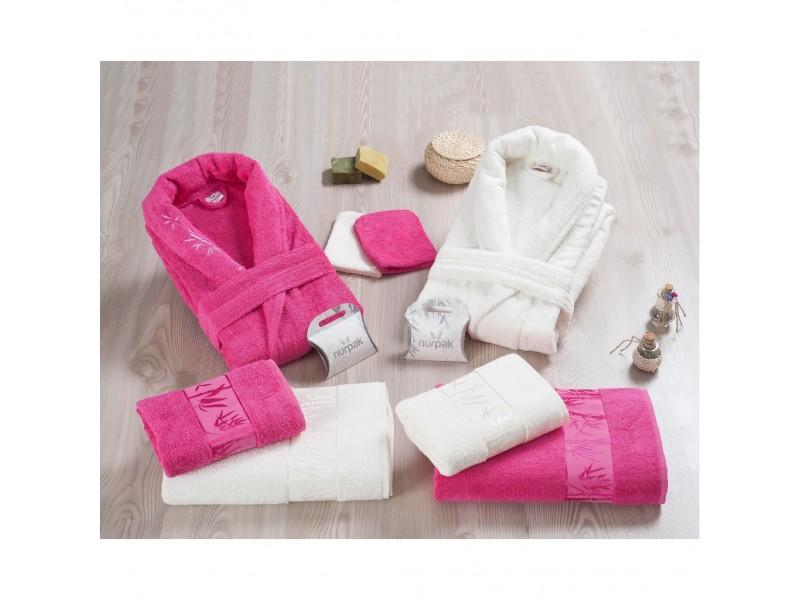 Халати за баня БАМБУК комплект 10 части - т.розово бяло